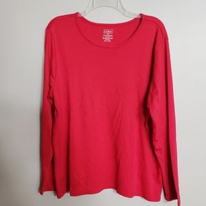 LL.Bean ladies red supima cotton long sleeve tee